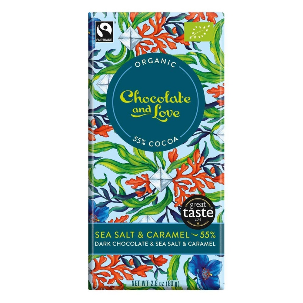 BIO hořká čokoláda 55% SEA SALT & CARAMEL 80g od Chocolate & Love